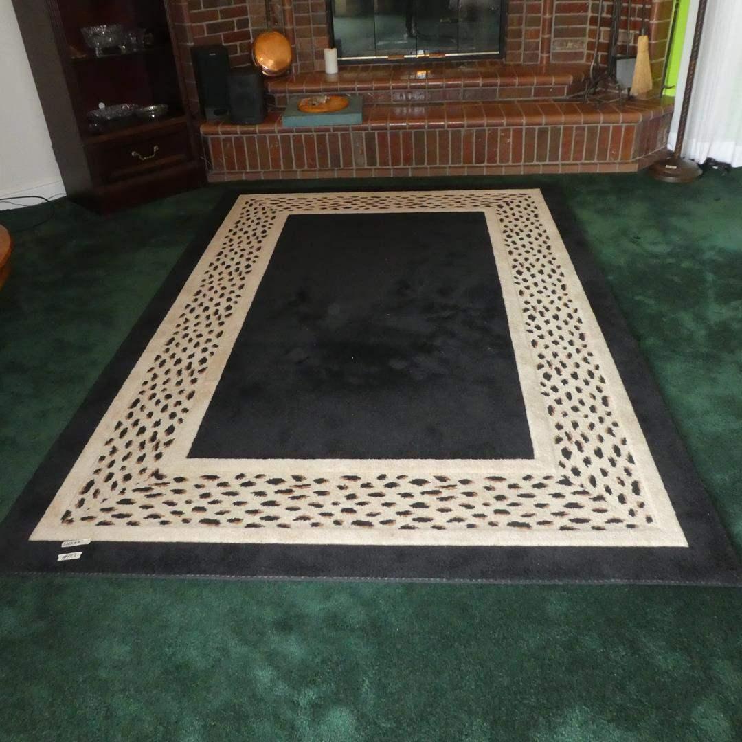 "Lot # 103 - Cheetah Inset Black 69"" x 104"" American Rug (Scotchgard Protection) (main image)"