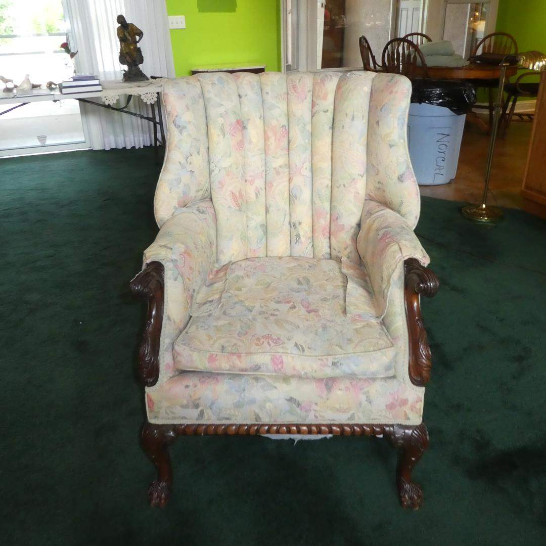 Lot # 105 - Vintage Wing Back Chair w/Carved Accents & Claw Feet  (main image)