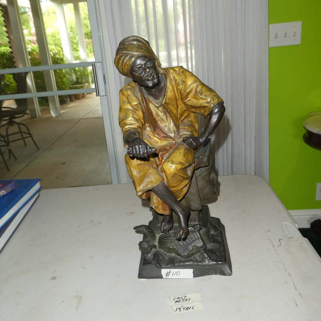 Lot # 110 - Vintage Cast Metal Signed Sculpture Man Sitting On A Pedestal (main image)