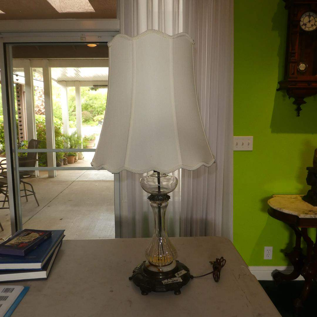 Lot # 111 - Vintage 3' Tall Glass & Brass Table Lamp (main image)