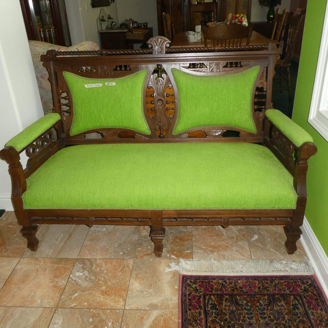 Lot # 112 - Wonderfully Carved Wood Antique Victorian Settee  (main image)