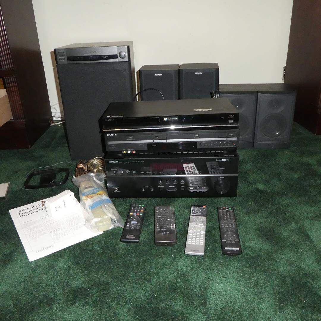 Lot # 115 - Sony Blu-Ray Disc. Player, Sony Video Cassette Recorder, Yamaha Receiver, Kenwood Subwoofer & Sony Speakers (main image)
