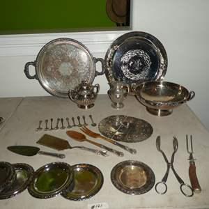 Lot # 121 - Vintage Silver Plate Utensils, Spoons & Serving Pieces