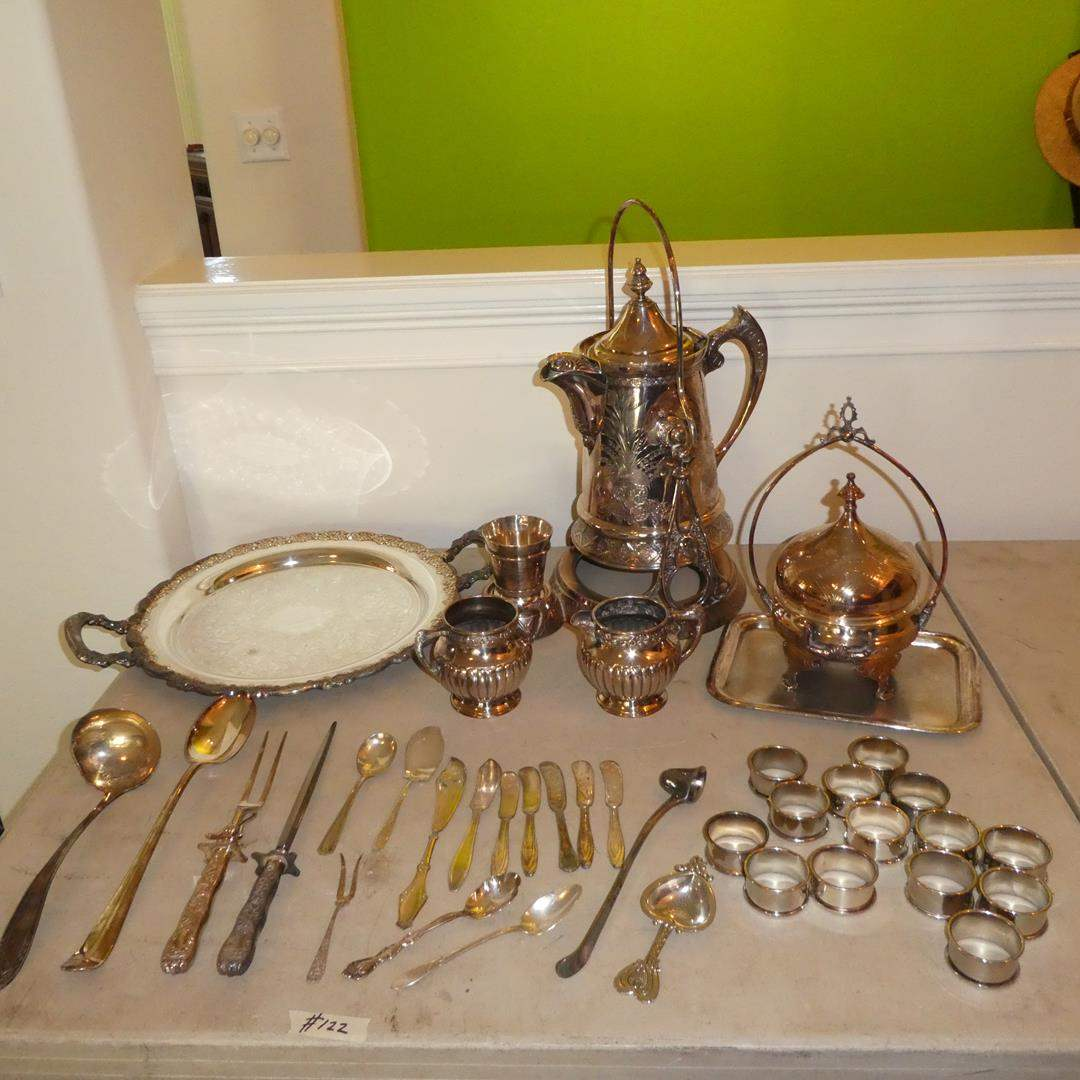 Lot # 122 - Antique Silver Plated Coffee Pot w/Cup, Napkin Rings, Utensils, Tray & More (main image)