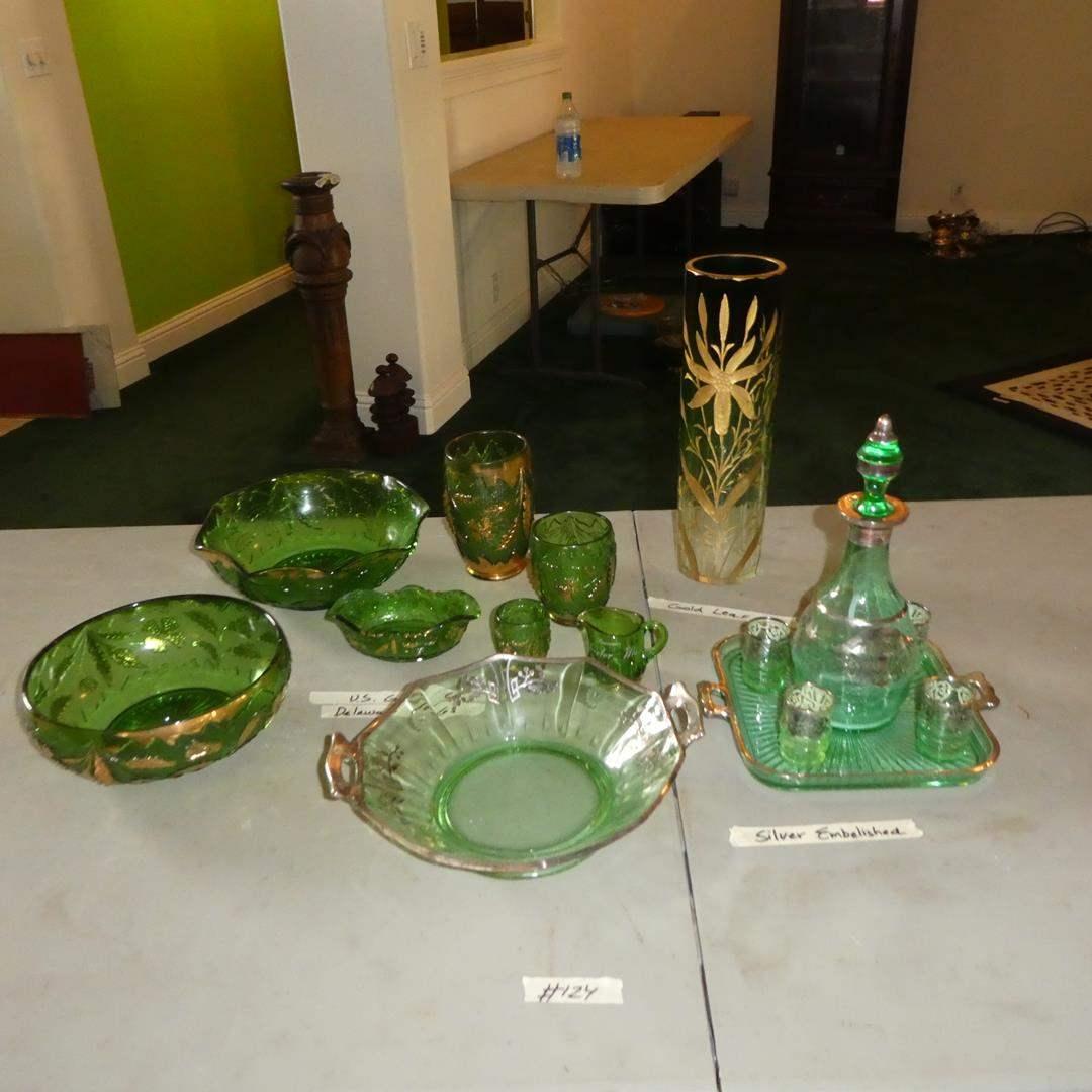 Lot # 124 - Vintage Silver Embellished Green Glass Decanter Set, Gold Leaf Vase & Green Depression Delaware Glass (main image)