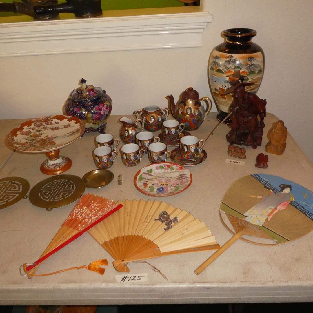Lot # 125 - Vintage Oriental Variety Lot - Fans, Tea Set, Figurines, Vases, Chop & More