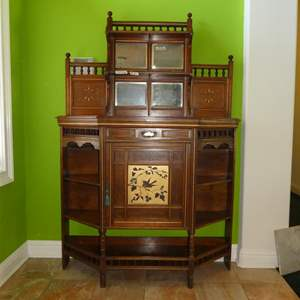 Auction Thumbnail for: Lot # 126 - Wonderful Antique 2-Piece Wooden Entryway Cabinet w/Dovetailed Drawer Beveled Mirrors Bird Motif & Key