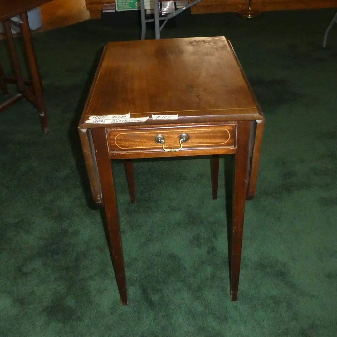 Lot # 127 - Vintage Genuine Mahogany Drop Leaf Side Table w/Drawer