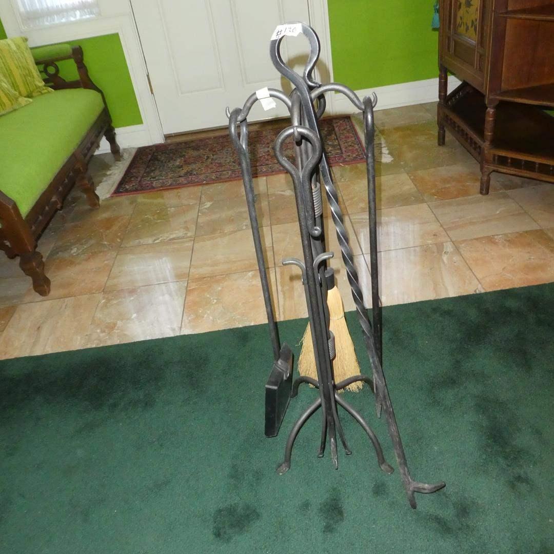 Lot # 130 - Quality Iron Fireplace Tool Set