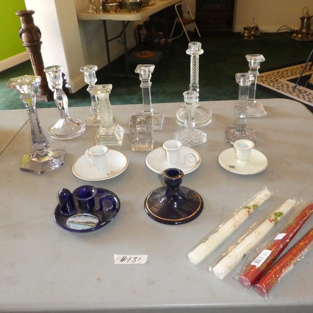 Lot # 131 - Vintage Souvenir Candle Stick Holders, Glass Candle Stick Holders & Candles (main image)