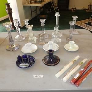 Lot # 131 - Vintage Souvenir Candle Stick Holders, Glass Candle Stick Holders & Candles