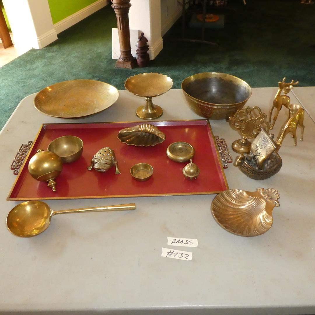 Lot # 132 - Brass Ladle, Bowls, Incense Burner, Deer Candlestick Holders, Tray & More (main image)