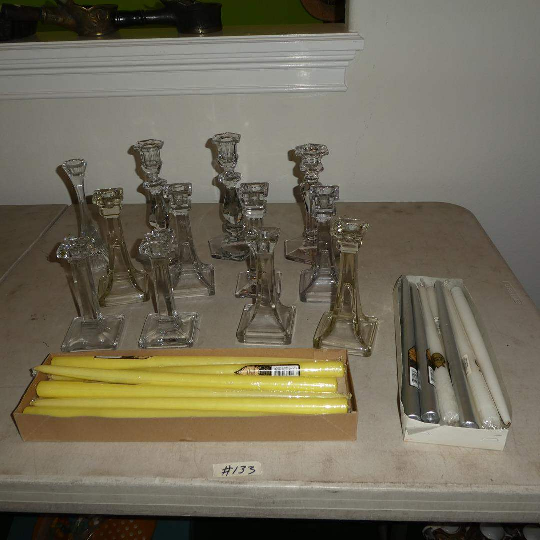Lot # 133 - Assorted Vintage Glass Candlestick Holders & Candles (main image)