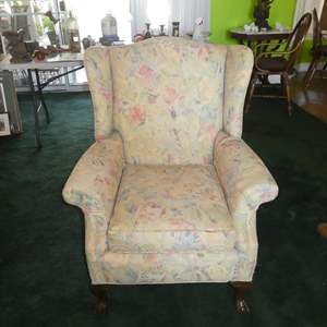 Lot # 135 - Vintage Upholstered Wing Back Chair w/Wooden Claw Feet