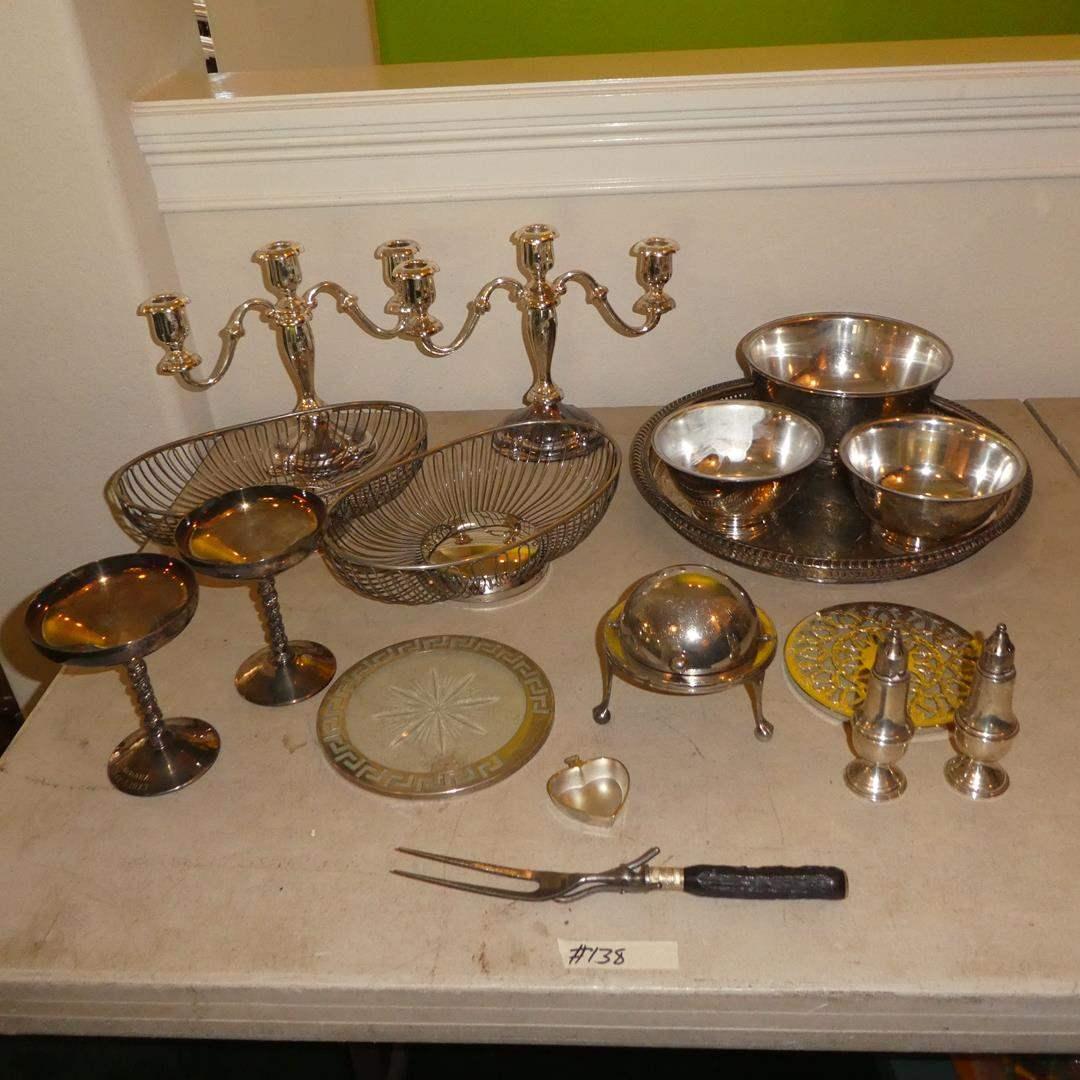 Lot # 138 - Vintage Silver Plate Serving Pieces & Candelabras