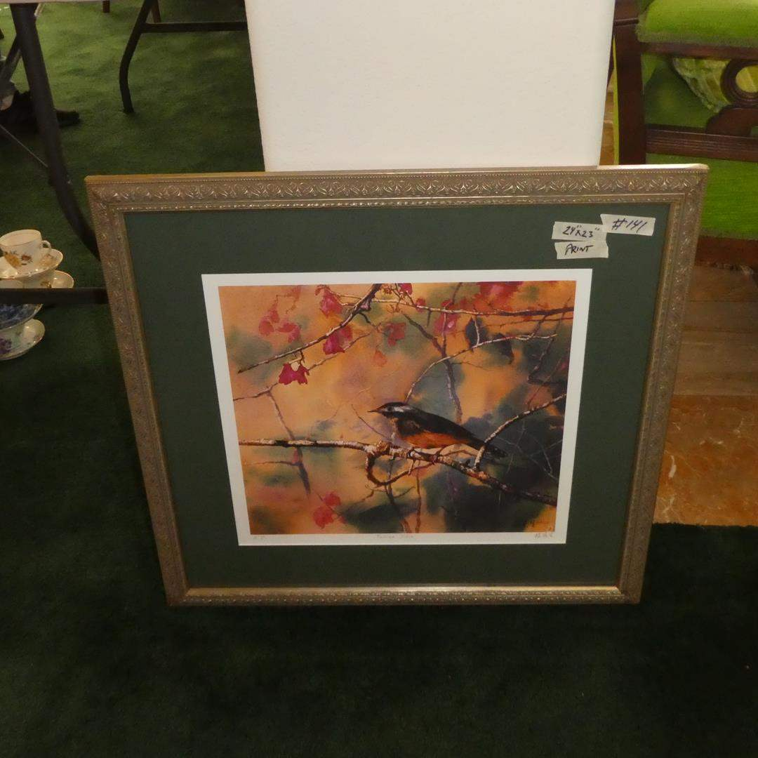 Lot # 141 - Beautifully Framed Signed Numbered Oriental Bird Print (main image)