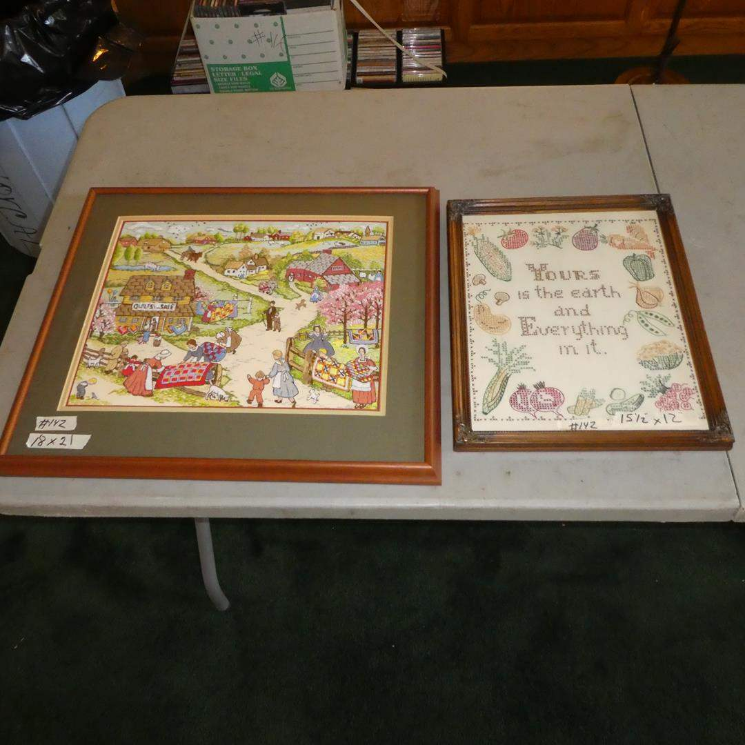 Lot # 142 - Two Framed Vintage Needle Work Pictures (main image)