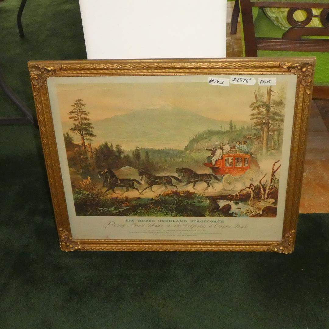 Lot # 143 - Large Framed Vintage Print 'Six-Horse Overland Stagecoach Passing Mt. Shasta on the California & Oregon Route' (main image)