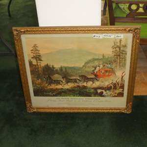 Lot # 143 - Large Framed Vintage Print 'Six-Horse Overland Stagecoach Passing Mt. Shasta on the California & Oregon Route'