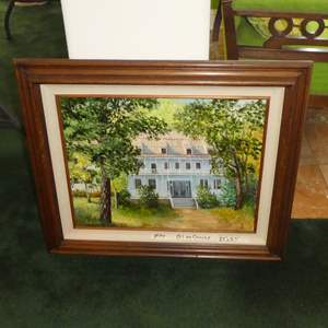 "Lot # 144 - Framed Oil on Canvas ""Inn At Carrville"" by Lola Bayliss Douglass City Ca."