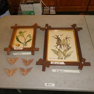 "Lot # 145 - Vintage Framed Floral Lithograph & Framed Original ""Mountain Lady Slipper"" Painting"
