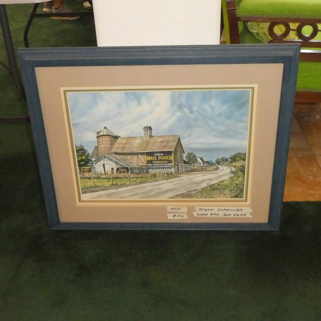 """Lot # 146 - Large Framed Original Watercolor Painting """"The Old Road"""" by Jack Wemp (main image)"""