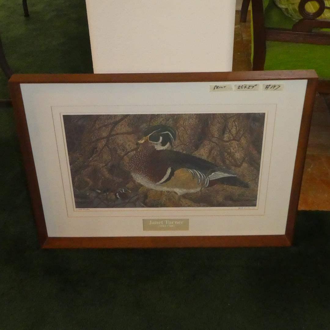 "Lot # 147 - Framed Print ""Wood Ducks"" Signed Janet Turner imp. (main image)"