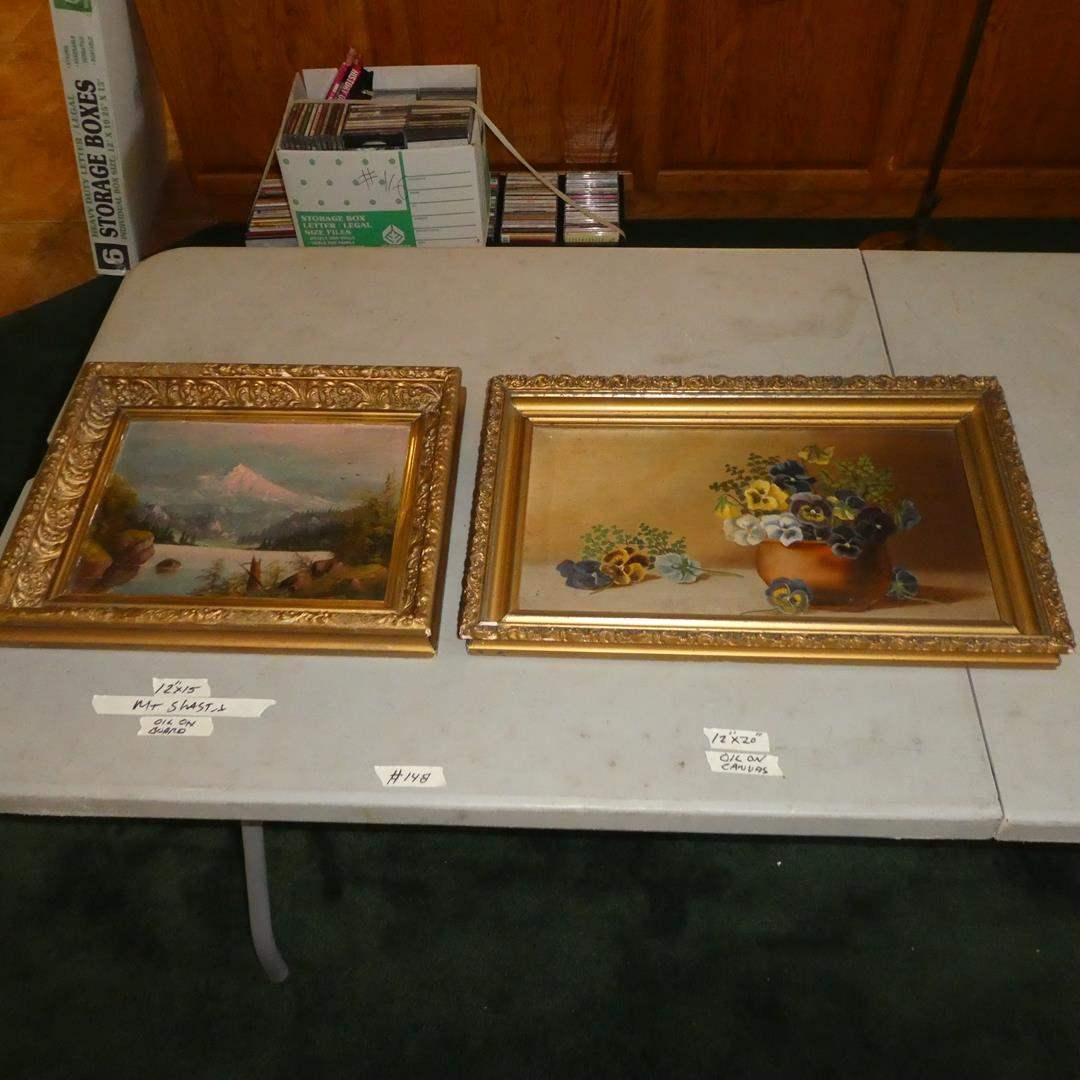 """Lot # 148 - Framed Vintage Oil on Board """"Mt. Shasta"""" & Framed Oil on Canvas Potted Pansies (main image)"""