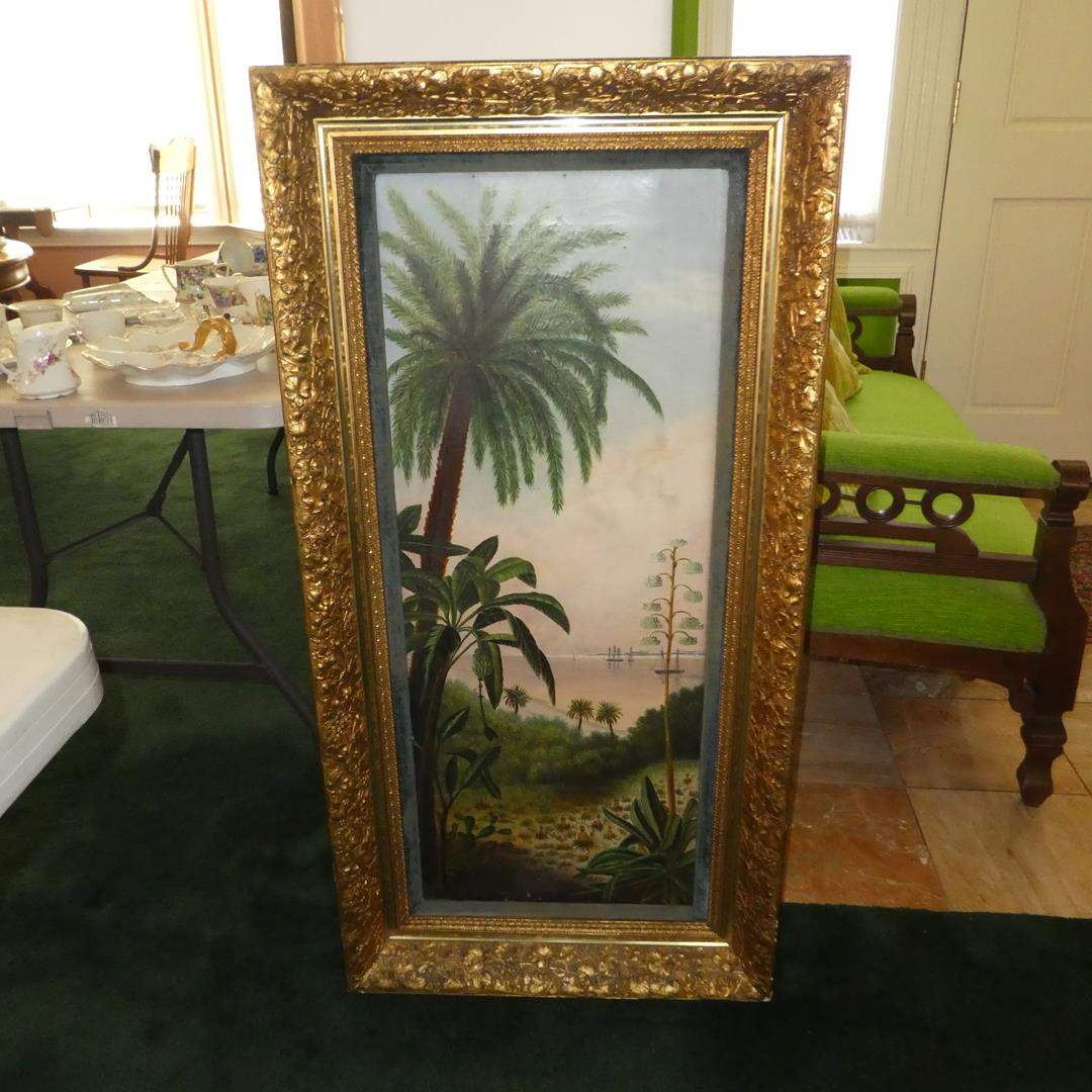 Lot # 149 - Large Beautifully Framed Oriental Palm Tree Oil on Canvas Painting (main image)