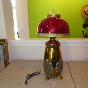 Lot # 150 - Large Antique Brass 'Parker' Electrified Oil Lamp w/Red Glass Shade