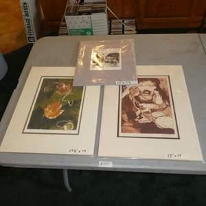 "Lot # 151 - Three Prints by Shirley Martin Mono Print ""Fall Leaves"", ""Woman Baking Bread"" & ""Old Barn"""