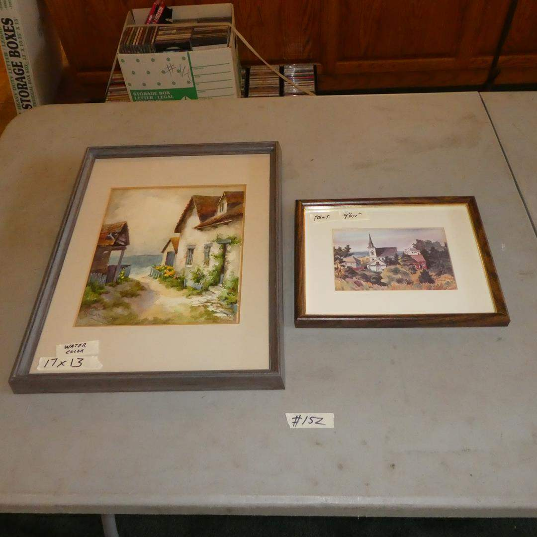 """Lot # 152 - Framed Signed Watercolor Painting & Framed Print """"The Village"""" by Ruth Carlson (main image)"""
