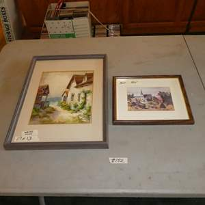 """Lot # 152 - Framed Signed Watercolor Painting & Framed Print """"The Village"""" by Ruth Carlson"""
