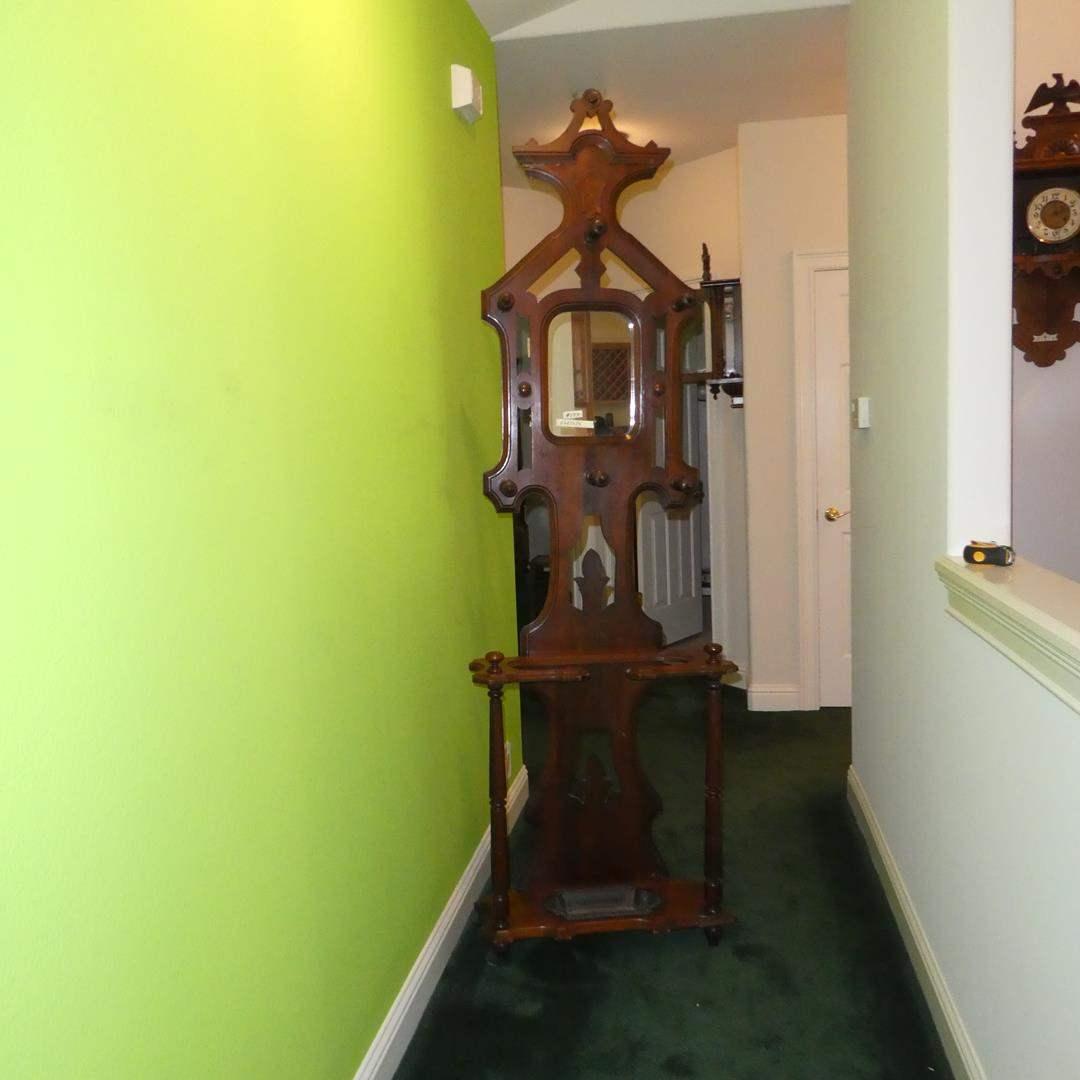 Lot # 154 - Antique 19th Century Victorian Walnut Wooden Hall Tree w/Mirror Iron Umbrella Drip Pan