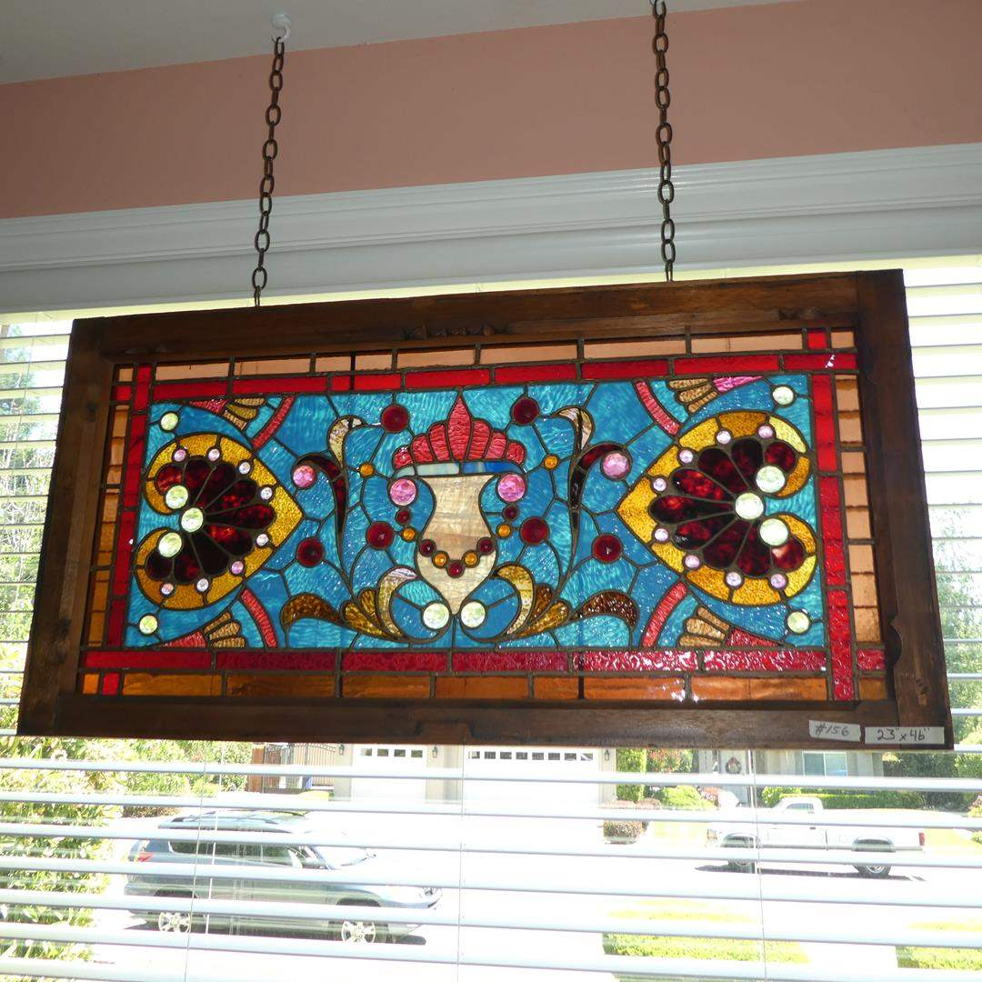 Lot # 156 - Large Framed Stained Glass Window Hanging (main image)