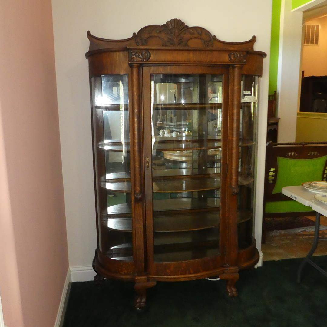 Lot # 157 - Wonderful Antique Wood & Glass Curio Cabinet w/Claw Feet on Casters (Mirrored Back) (main image)