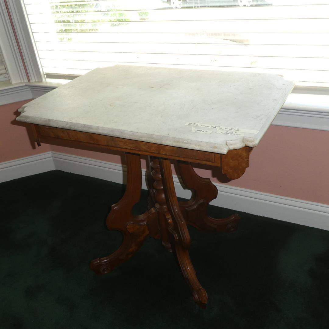 Lot # 158 - Antique Marble Top Wood Framed Parlor Table (main image)