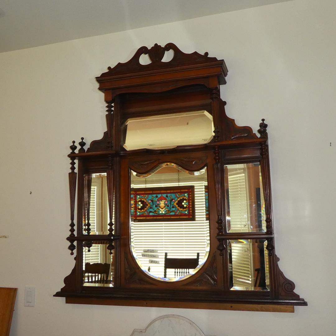 Lot # 159 - Unusual Antique Wooden Wall Shelf w/Beveled Glass Mirror (main image)
