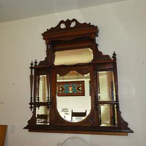 Lot # 159 - Unusual Antique Wooden Wall Shelf w/Beveled Glass Mirror