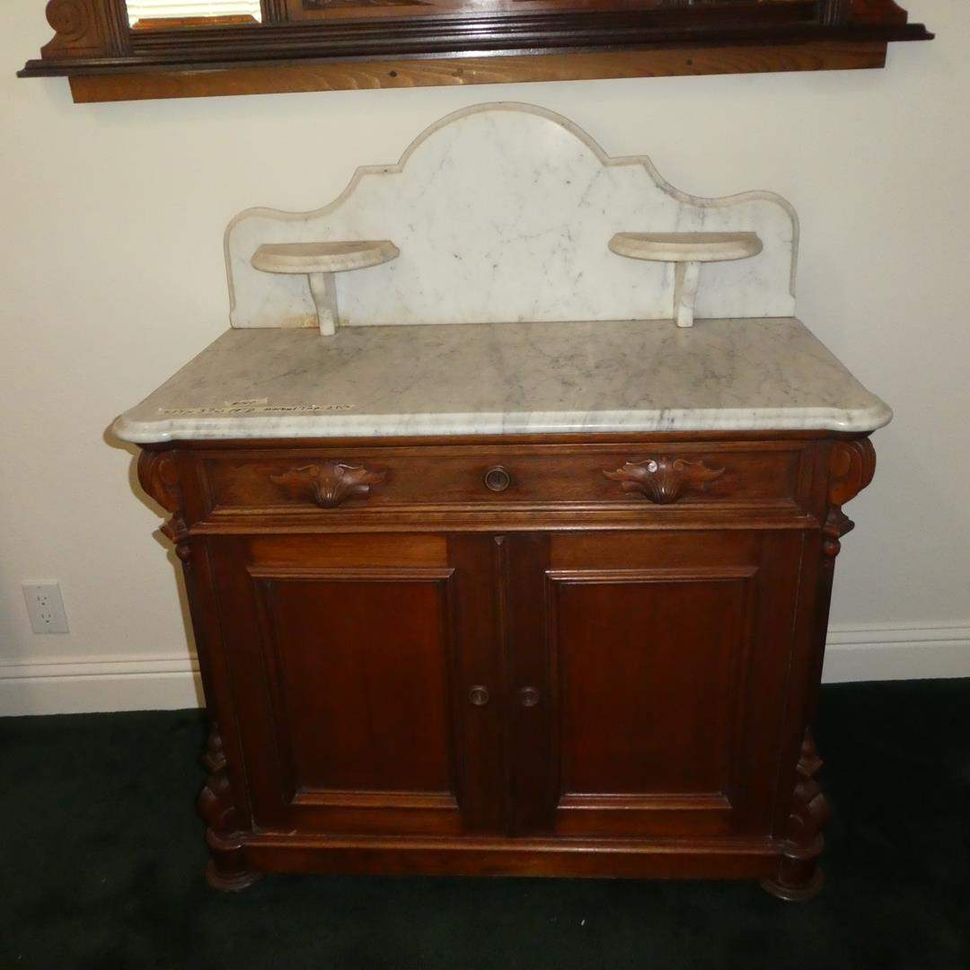 Lot # 160 - Antique Victorian Walnut Marble Top Washstand/Commode (Dovetailed Drawer) (main image)