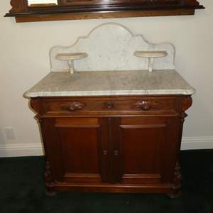 Lot # 160 - Antique Victorian Walnut Marble Top Washstand/Commode (Dovetailed Drawer)