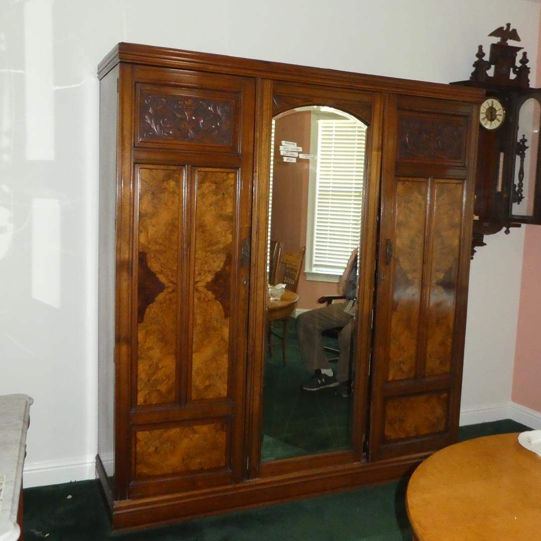 Lot # 161 - Large Beautiful Antique Armoire w/Beveled Glass Mirror (main image)
