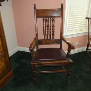 Lot # 162 - Antique Wooden Accent Arm Chair w/Vinyl Covered Seat