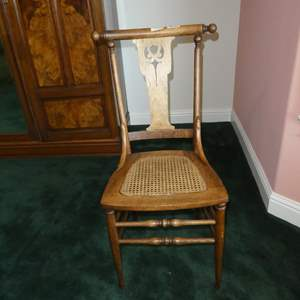Lot # 163 - Antique Wooden Accent Chair w/Cane Seat
