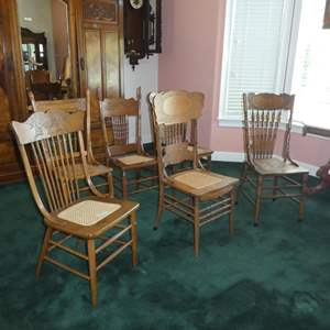 Lot # 165 - Six Vintage Cane Seat Dining Chairs - All Different - See Pics