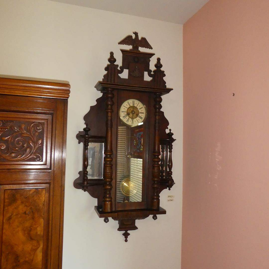 Lot # 167 - Antique German Fredrick Mauthe Pendulum Wall Clock w/Eagle