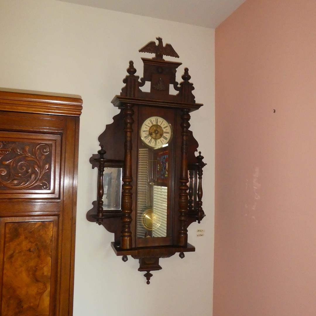 Lot # 167 - Antique German Fredrick Mauthe Pendulum Wall Clock w/Eagle (main image)