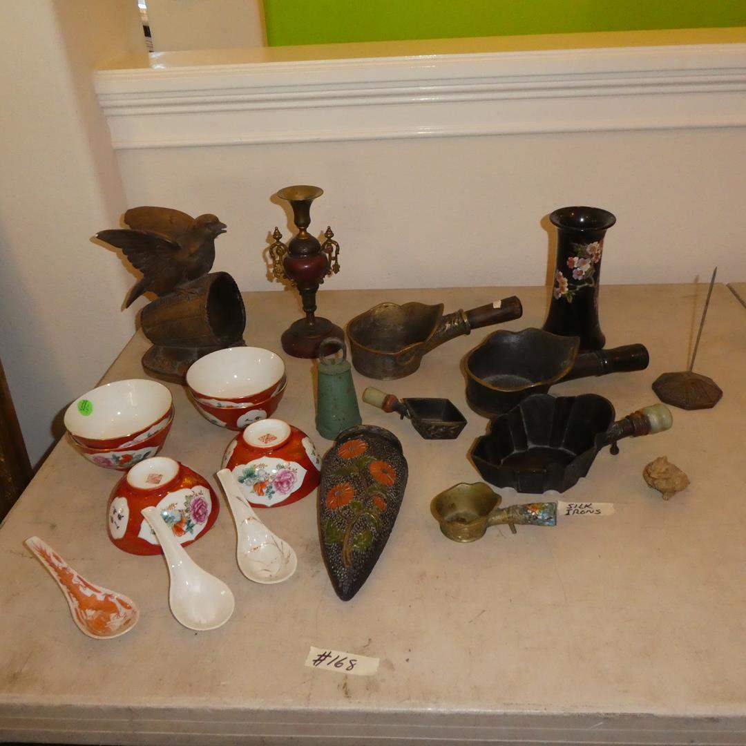 Lot # 168 - Vintage Chinese Silk Irons, Vase, Wall Sconce, Chinese Spoons, Bowls & More (main image)