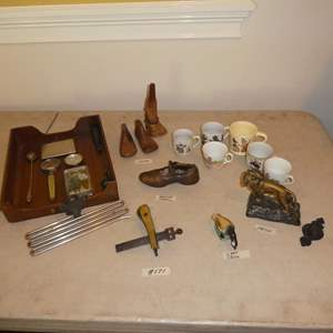 Lot # 171 - Antique Imperial Trouser Hanger, Wood Working Tool, Cast Iron Goose, Metal Lion Figure, Shoe Molds & Coffee Mugs