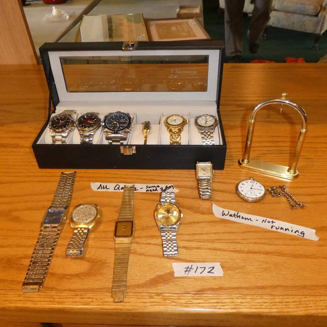 Lot # 172 - Eleven Quartz Wristwatches & Vintage Waltham Pocket Watch